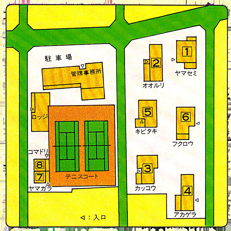 ウルベビレッジ内の案内図